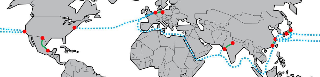 Global map showing outlined routes